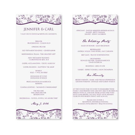 Wedding Program Template - Download Instantly - EDIT YOURSELF - sample program templates