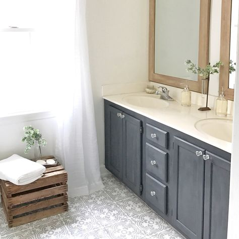 DIY Tutorial  How To Paint Your Linoleum Or Tile Floors To Look Like  Patterned Cement Tiles  Full Bathroom Makeover By Plum Pretty Decor And  Design