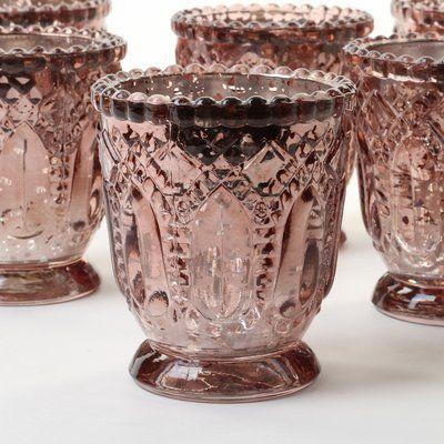 Mistana 6 Piece 3 Glass Tabletop Votive Holder Set Wayfair In 2020 Vintage Glass Candle Holders Vintage Pressed Glass Glass Candle Holders