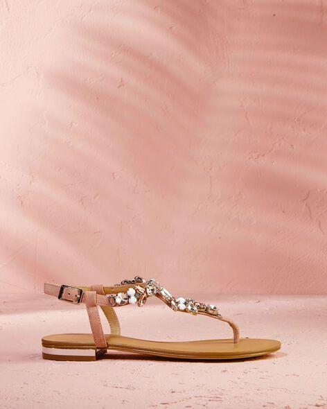 Sandales Havo cuir et bijoux Cosmoparis en rose pour femme