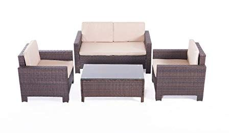 Ufi 4pcs Patio Furniture Sets All Weather Indoor Outdoor Conversation Set Rattan Wicker Sofa With Cushion And Cofe Table Garden Yard Poolside Balcony Rta Furniture Brown Patio Furniture Sets Wicker Sofa