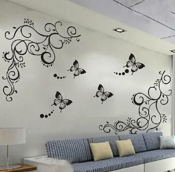 Butterfly Fllower Wall Stickers Wall Stickers Bedroom Wall Stickers Living Room Wall Stickers Home Decor
