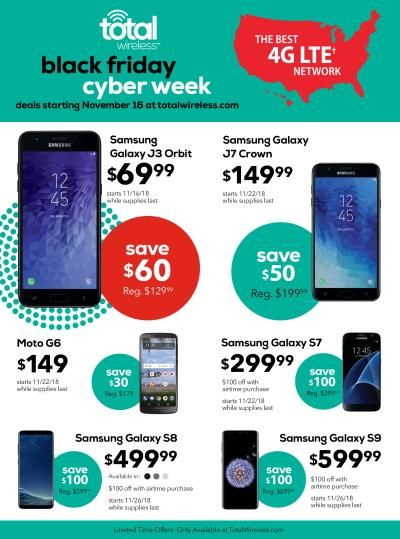 Total Wireless Black Friday 2020 Sale Get Unlimited Data Phone Deals Cyber Week Deals Black Friday Electronic Deals