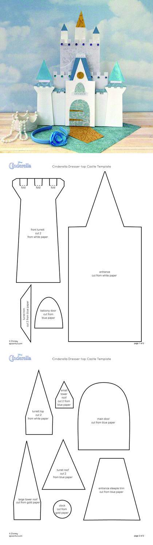 Template for a princess decoration Molde de castelo para - white paper template