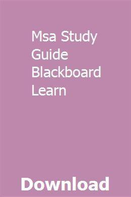 Msa Study Guide Blackboard Learn Blackboard Learn Study Guide Study