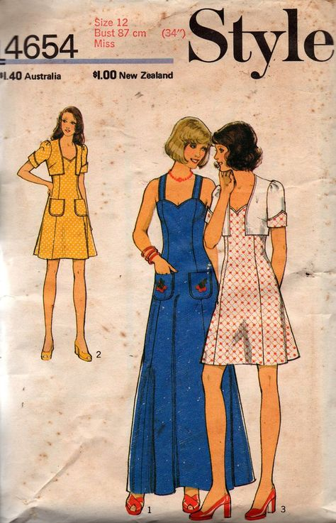 Style 4654 Womens Sundress & Bolero 70s Vintage Sewing