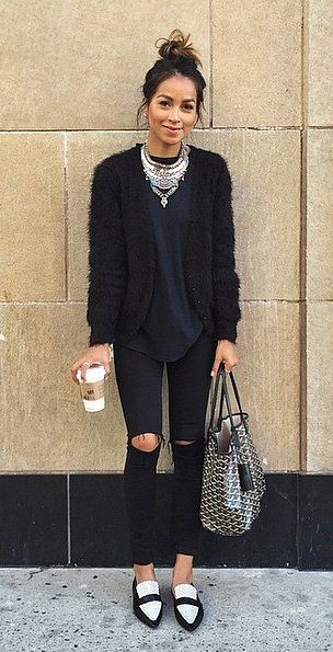 Cardi, statement necklace, messy bun and loafers....my kind of outfit