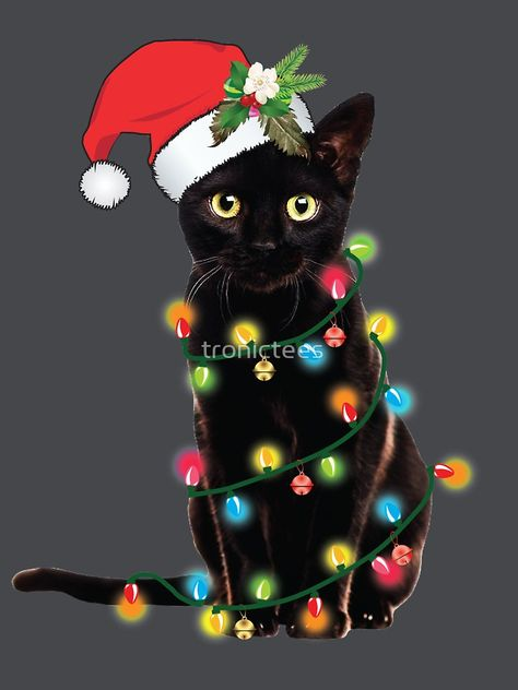 'Black Santa Cat Tangled Up In Lights Christmas Santa T-Shirt' Fitted V-Neck T-Shirt by tronictees Christmas Scenes, Christmas Animals, Christmas Cats, Christmas Pictures, Vintage Christmas, Xmas, I Love Cats, Crazy Cats, Cute Cats