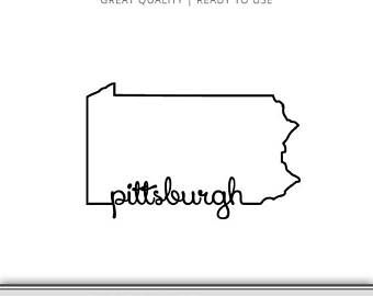 Pittsburgh Pennsylvania State Outline Graphic Pensylvania Svg Pittsburgh Svg Digital Download Penn Svg Cri Pittsburgh Tattoo State Outline Pittsburgh