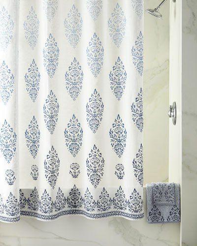 John Robshaw Jalati Shower Curtain Indigo Shower Curtain