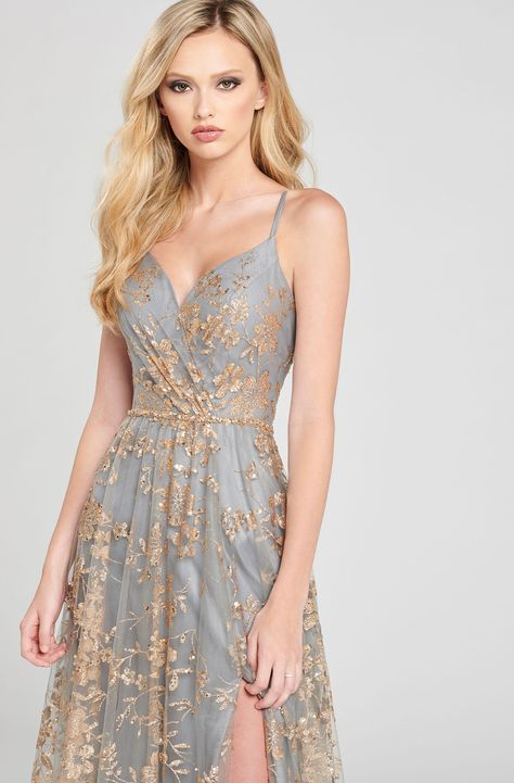 Pretty dresses - Colette by Mon Cheri V Neck Open Back Glitter Tulle Gown – Pretty dresses Beautiful Long Dresses, Pretty Prom Dresses, Grad Dresses, Unique Dresses, Dance Dresses, Ball Dresses, Elegant Dresses, Homecoming Dresses, Ball Gowns