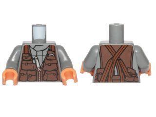 LEGO NEW DARK GREEN MINIFIGURE TORSO TAN ARMS REDDISH BROW HANDS ROBE BELT