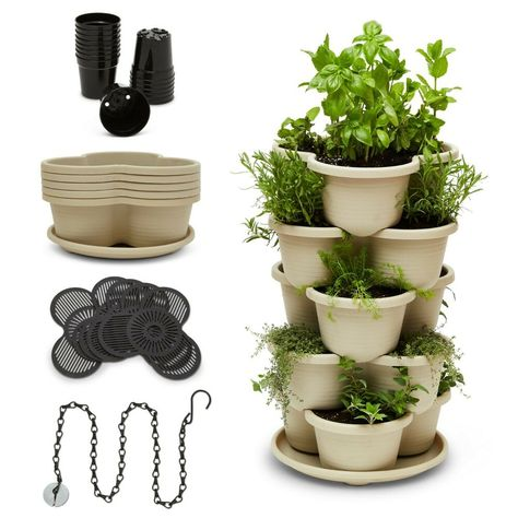 T4u Plastic Self Watering Vertical Living Wall Planter White Stackble Wall Mounted For Indoor Outdoor Herb Vegetable Flower Plant