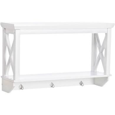 X Frame Collection Wall Shelf With Hooks White Riverridge Wall Shelf With Hooks Wall Shelves White Wall Mounted Shelves
