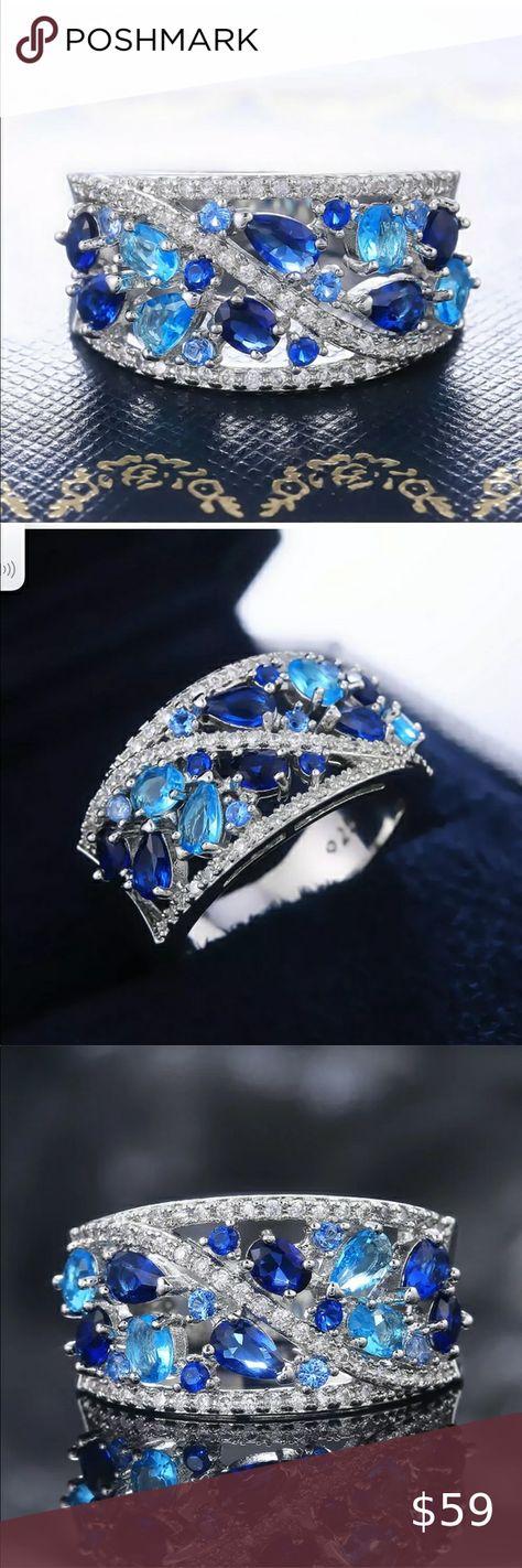 Spotted while shopping on Poshmark: New 925 Silver Aquamarine & Sapphire Jewelry ring! #poshmark #fashion #shopping #style #Jewelry