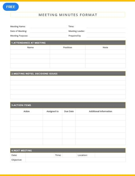 Free Meeting Minutes Format Templates Printable Labels Free