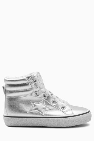 Buy Silver Retro High Top Trainers
