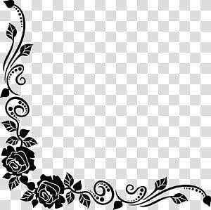 Black Floral Frame Design Black Rose Best Borders Flower Bouquet Floral Corner Transparent Background Mandala Coloring Books Rose Frame Flower Illustration