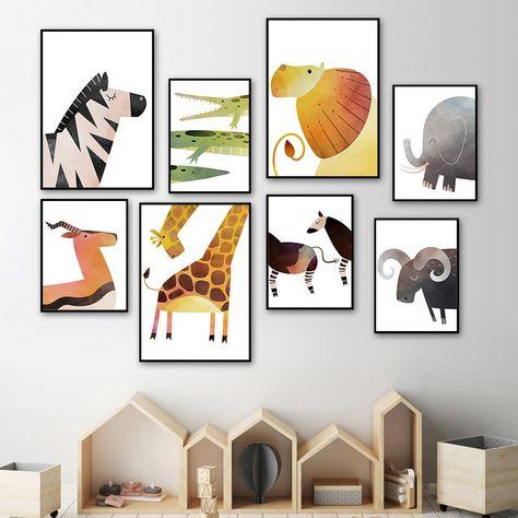 Lion Deer Elephant Giraffe Zebra Nursery Wall Art Prints Gallery Wall Nursery Zebra Nursery Kids Bedroom Art