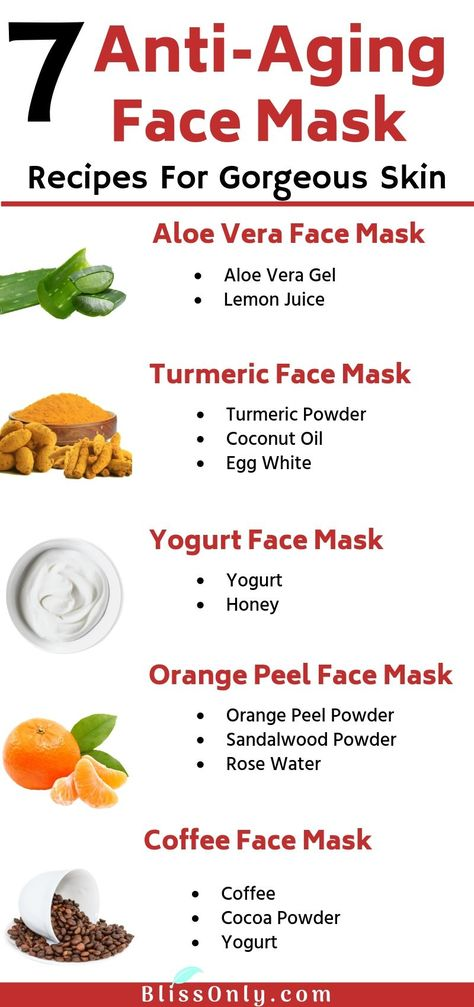 7 best anti-aging face mask recipes that you must try at home. All these face masks are made with natural ingredients and help tighten skin, reduce fine lines, wrinkles, age spots and fight other signs of aging. Click to get the recipes.