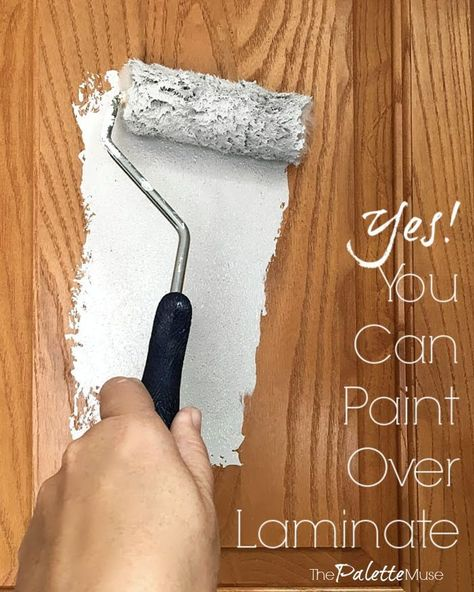 You can totally paint over laminate cabinets, if you use the right products! See how easy it is, with no sanding. Time for a kitchen update, but not sure how to paint laminate cabinets? I'll show you the right way, with no sanding required! Diy Kitchen Cabinets, Kitchen Paint, Kitchen Redo, Paint Bathroom Cabinets, Paint Inside Cabinets, Kitchen Remodel, Kitchen Laminate, Kitchen Ideas, Bedroom Cabinets