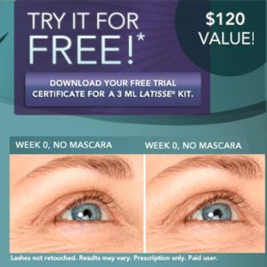 graphic relating to Latisse Coupons Printable titled Vocalpoint Participants: No cost Latisse Package $120 Price tag! Freebies