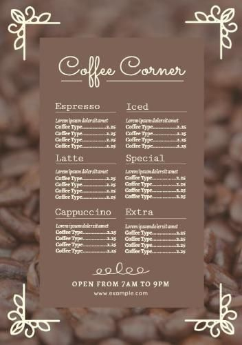 An Image Of Coffee Beans In The Background And A Cute Frame Around The Brown Cafe Menu Create Your Own In Minutes With Our Cafe Menu Coffee Images Brown Cafe