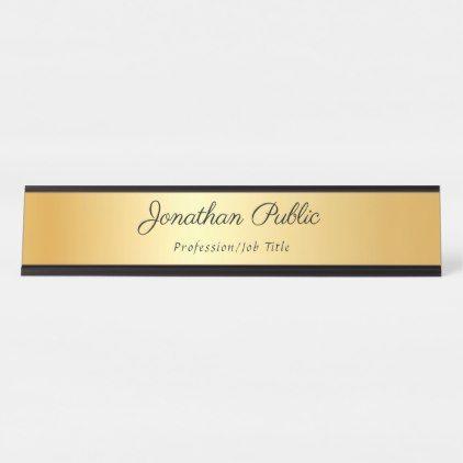 Gold Modern Template Elegant Calligraphed Name Desk Name Plate Zazzle Com In 2021 Name Plate Desk Name Plates Desk Sign