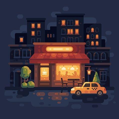Night cafe. 2018 vs 2017.#flat #design #flatdesign #graphicdesign #vector #illustration #vectorart #digitalart #adobeillustrator #nightcafe☕ #cafe #nightcity