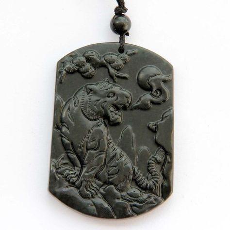 Black Green Jade Lucky Chinese Zodiac Tiger Amulet Pendant