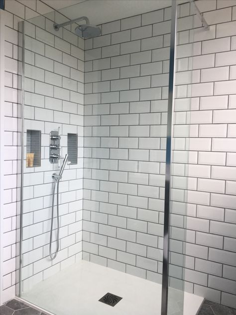 Bathroom Refurb White Subway Tiles Contrast Grout Walk In