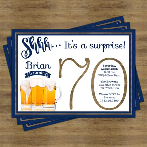 Beer Party Invitation Surprise 70th Birthday For Him