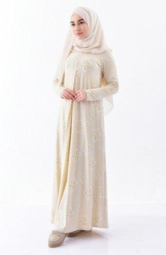 Sefamerve Sefa Merve Umre Elbisesi 7124c 01 Krem Fashion Hijab