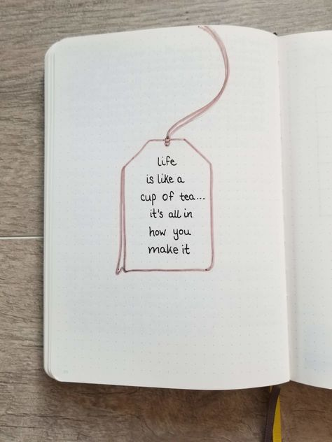 Bullet Journal Quote Page - Hand drawn tea bag with quote Life is like a cup of tea ... it's all in how you make it