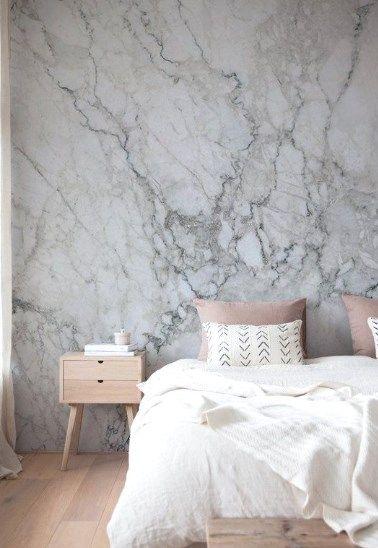 30 Grey Bedroom Inspirations Marble Wallpaper Bedroom Marble Bedroom Bedroom Interior Bedroom wallpaper light grey