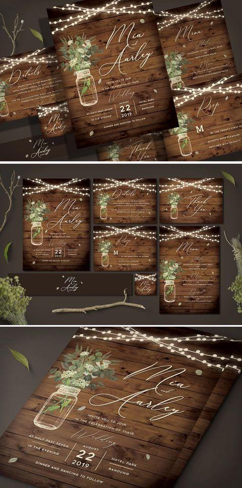 Rustic Wedding Invitation Set PSD