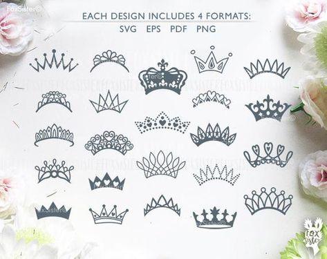 Crown SVG monograms Bundle 23 Royal crowns Tiara Papercut | Etsy