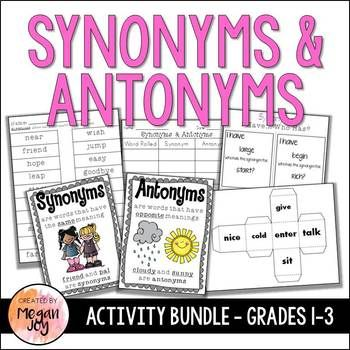 Synonyms & Antonyms Activities | Synonyms anchor chart ...