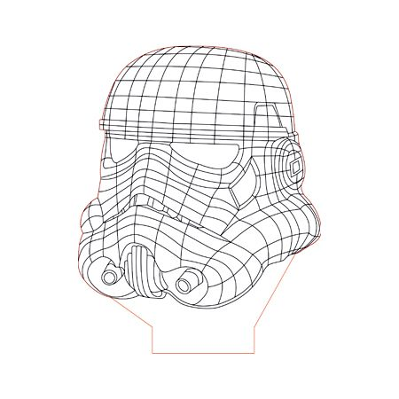 Star Wars Trooper Helmet 3d Illusion Lamp Plan Vector File Op For Laser And Cnc 3bee Studio 3d Illusion Lamp 3d Illusions Illusions