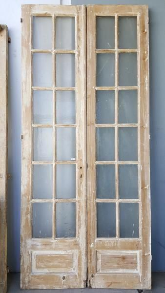 Pair Of 12 Pane Wooden French Doors Dimensions Are 107 High X 48 Wide Kitchendoors Wood French Doors Antique French Doors Wood Doors Interior