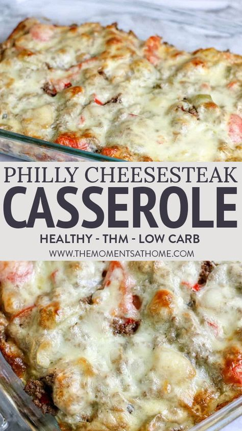 Philly cheesesteak casserole is a savory keto casserole the entire family will enjoy. Eat your cheesesteak casserole with your favorite side or bun. Trim Healthy Mama Diet, Trim Healthy Recipes, Healthy Menu, Thm Recipes, Healthy Side Dishes, Healthy Dinner Recipes, Healthy Casserole Recipes, Healthy Family Dinners, Family Recipes