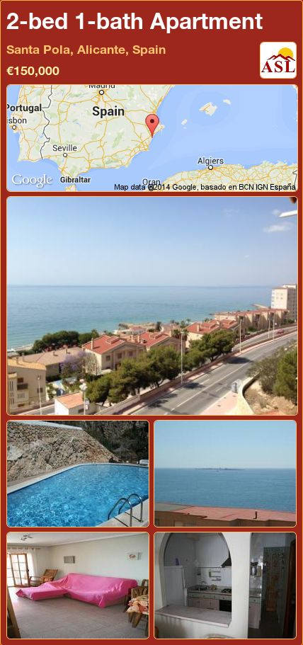 2 Bed 1 Bath Apartment In Santa Pola Alicante Spain 150 000 Propertyforsaleinspain Espana Spain Alicante