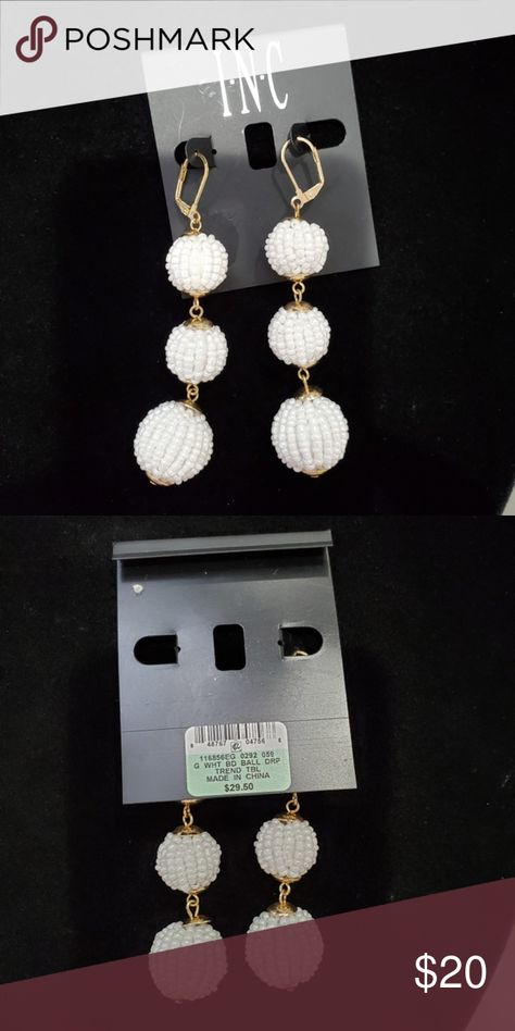 INC White Tiered Beaded Ball Dangle Drop Earrings Item is in excellent NWT condition. Super versatile and pairs well with so many things! Each ball is beaded with smaller white beads.  The dangle length is 3.5
