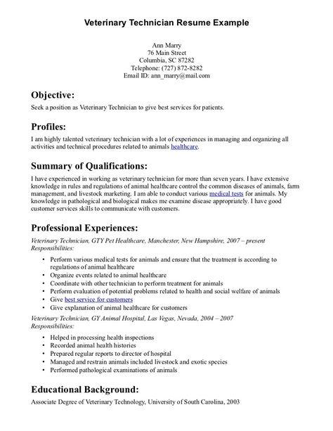 veterinaryassistantresume-examplepng (400×600) Vet Tech Resume - veterinary technician resume samples