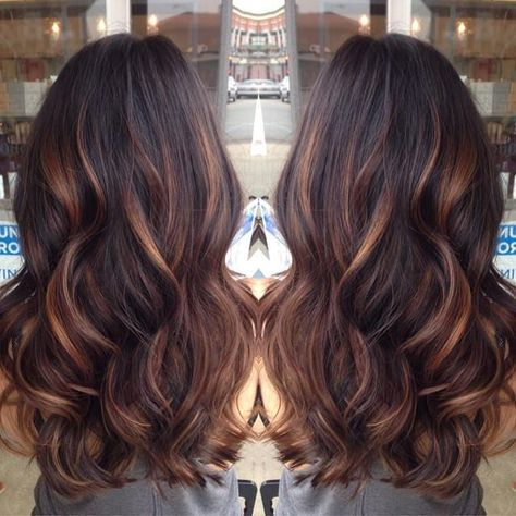 Started with golden caramel balayage'd lights on her dark brown hair done by lemastyyles.