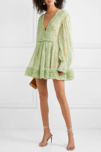 6d952bb3ec Stella McCartney - Ruffled floral-print silk-crepon mini dress in ...
