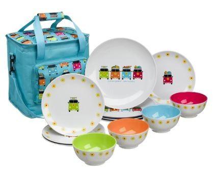 Flamefield Colours Melamine Essentials 16 Piece Set Camping Tableware Caravan