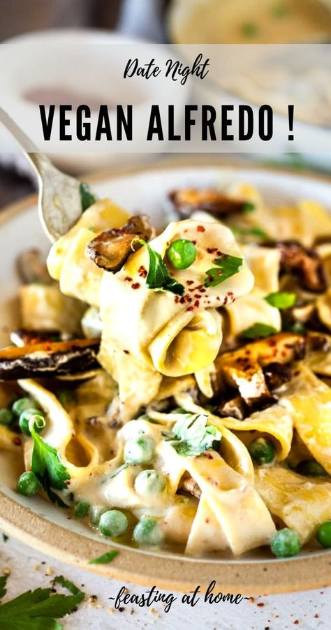 Date Night Vegan Alfredo with the most delicious Vegan Alfredo Sauce (made with cashews or hemp hearts), tossed with sauteed mushrooms, peas, Meyer lemon zest and a secret ingredient that gives this extra complexity and depth. Best part? It can be made in under 30 minutes! For extra awesomeness- try this with simple Smoked Mushrooms! via @feastingathome