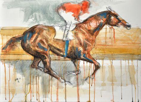 Horse Painting Peinture Craie Noire Aquarelle Et Pastel D Un