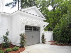 Image Result For White House Gray Garage Doors Garage Pergola Garage Door Design Garage Style